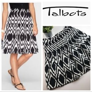 Talbots Black and White Print Pleated Skirt